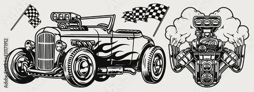 Fotografía Hot rod classic custom car concept