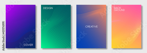 Set of colorful cover design templates. Abstract futuristic geometric pattern with wavy lines for banner, posters, and wallpaper. Vector