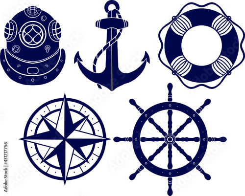Photo Set of Nautical Naval elements, Anchor, Ship steering Wheel, Retro Diving Helmet