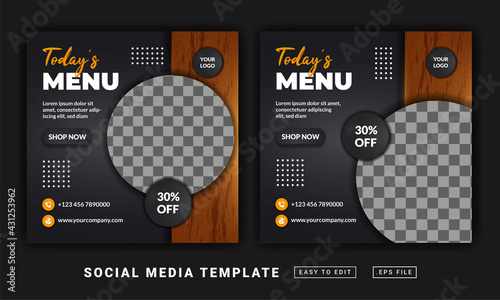 Fotografie, Obraz Flyer or social media post themed today's menu template