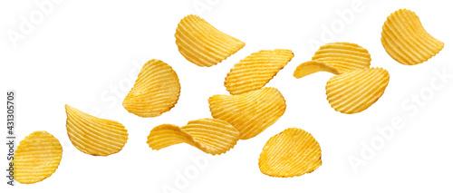 Obraz na płótnie Falling ridged potato chips isolated on white background