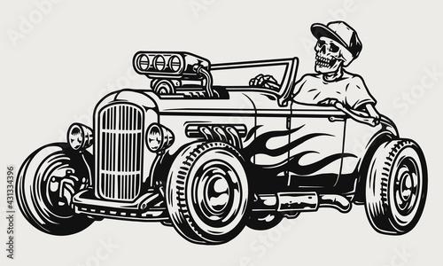 Leinwand Poster Custom racing car vintage monochrome concept