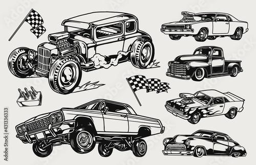 Fotografie, Obraz Custom cars vintage concept