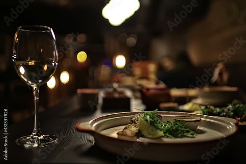 romance dinner restaurant table setting, background in abstract bar table food a Fototapet