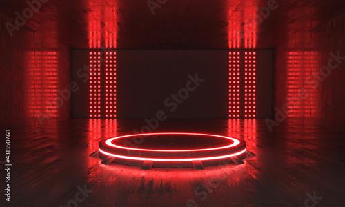 Futuristic Sci Fi Empty Red Stage neon. 3d rendering