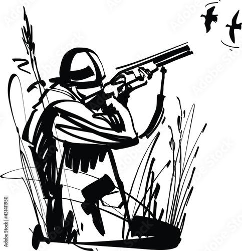 Fototapeta hunter with shotgun
