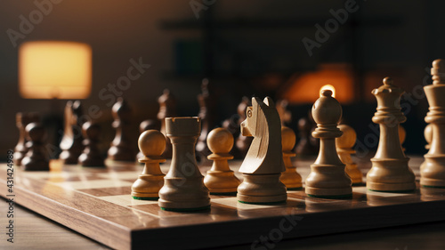 Tela Chess pieces arranged on the chessboard