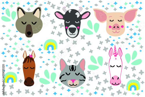 doodles cute animals collection of different animals cute sticker