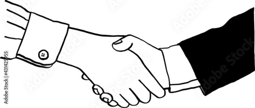 Fotografia Handshake People action Business contract agreement concept Hand drawn illustrat