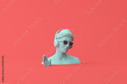 Minimal scene of sunglasses and headphone on human head sculpture, Music concept, 3d rendering.
