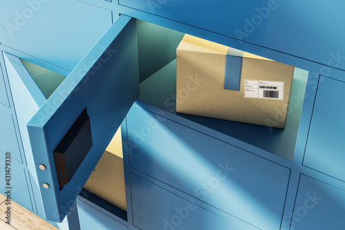 Pick point service concept with blue terminal for issuing goods purchased from o Fototapeta