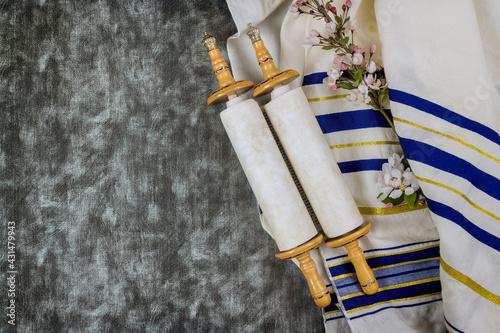 Fotografie, Obraz Jewish holidays, during prayer items kippa with prayer shawl tallit on torah scr