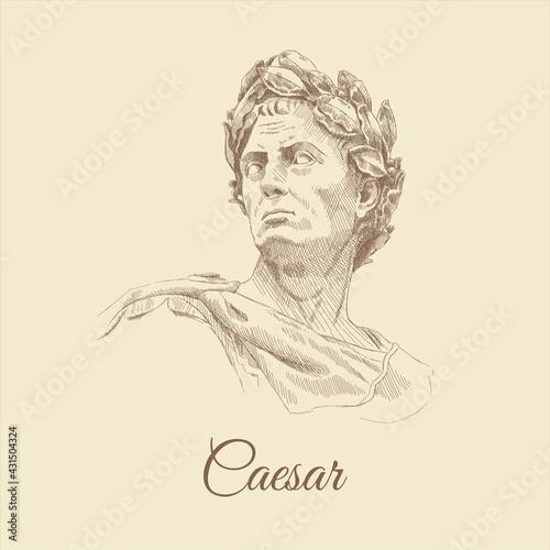 Fotografia Sketch portrait of Caesar, hand-drawn.