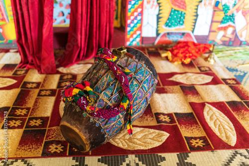 Fotografie, Obraz religious drum, musical instrument inside Entos Eyesu UNESCO Monastery situated on small island on lake Tana near Bahir Dar