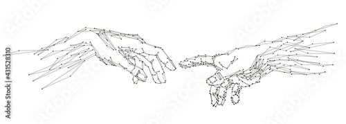 Fotografiet Reaching hands close up detail from The Creation of Adam of Michelangelo fresco detail illustration on the white background, abstract vector 3d