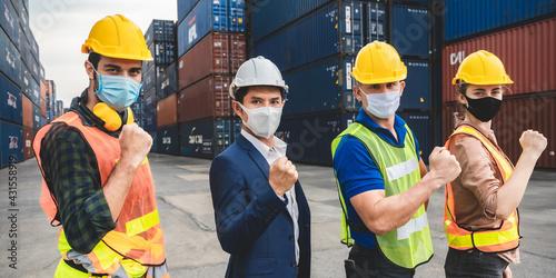 Foto logistic worker teamwork and partner of foreman, engineer, and businessman worki