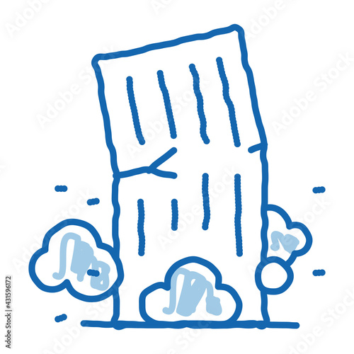 Cuadros en Lienzo high-rise building collapse doodle icon hand drawn illustration