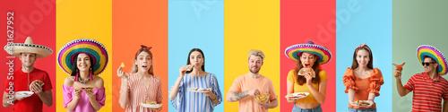 Obraz na plátně Set of people with tasty Mexican food on color background