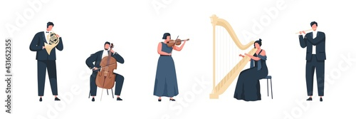 Musicians performing classic melodies on music instruments. People playing on cello, flute, harp, trumpet and violin. Colored flat vector illustration of philharmonic performers isolated on white