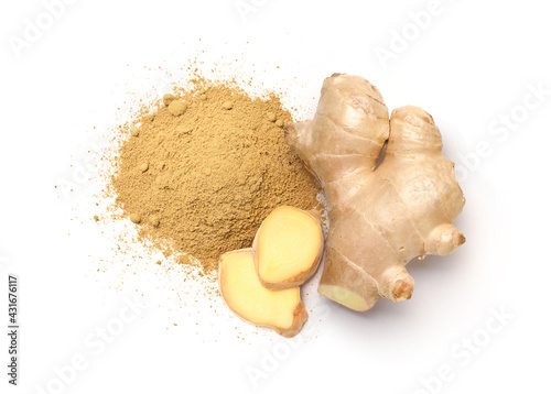 Fotografiet Flat lay of ginger powder with Fresh ginger rhizome and  slices  isolated on white background