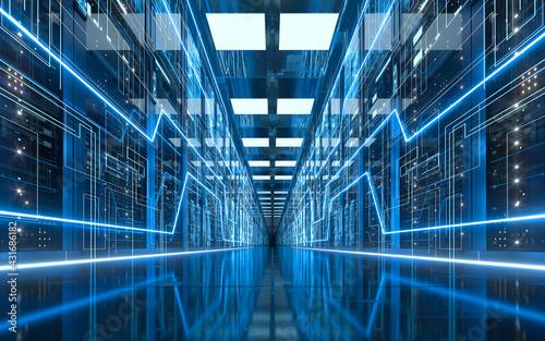 Carta da parati Server racks in computer network security server room data center, 3d rendering