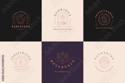 Magic logos emblems design templates set with mystic moon and female hands vecto Fototapet