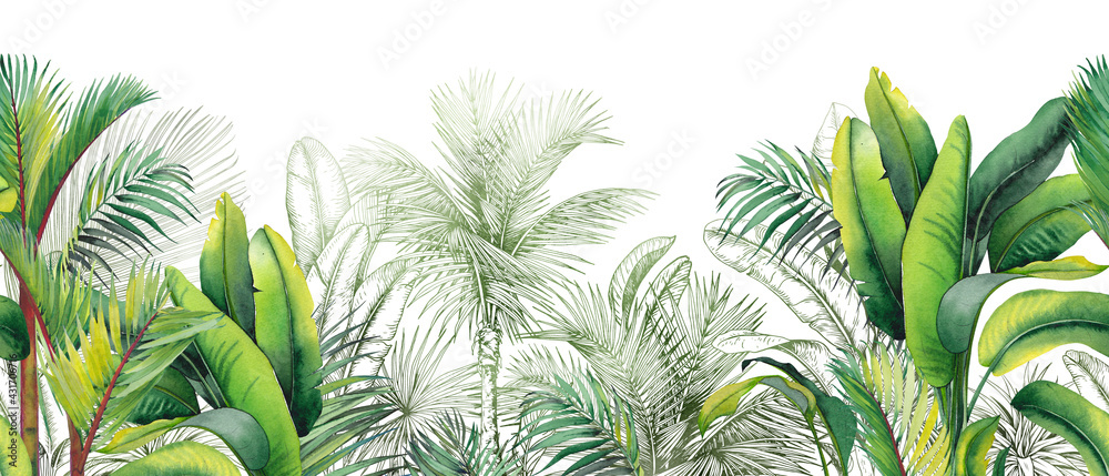 Seamless watercolor border with green tropical foliage.