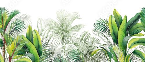 Folia na okno łazienkowe  akwarela z zielonymi tropikalnymi liśćmi