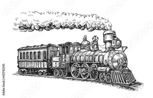 Obraz na plátně Steam locomotive transport sketch