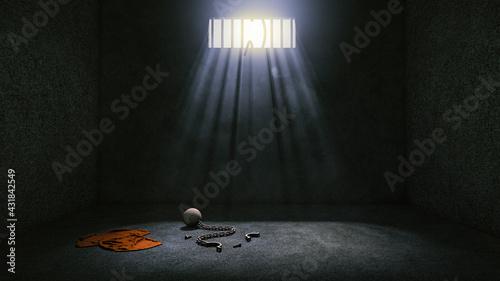 Canvas Print Prison with broken prison bars after prisoner escape and leaves prison uniform, ball and chain in prison room