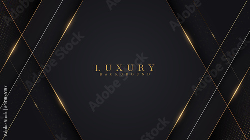 Wall mural Golden lines luxury on white overlap brown and black shades color background. elegant realistic paper cut style 3d. Vector illustration about precious and beautiful feeling.