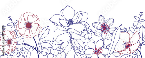 simple line flower and leaf background vector art for spring and summer
