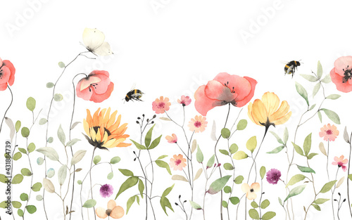 Stampa su Tela Floral summer horizontal pattern with colorful wildflowers, flying bumblebee and butterfly