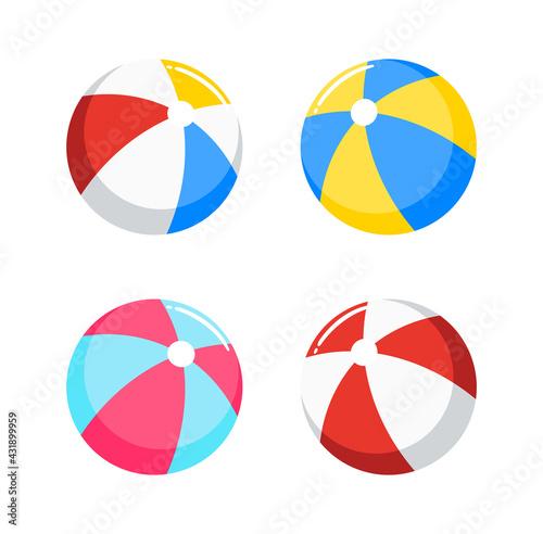 Fotografia beach ball, inflatable ball set vector illustration isolated