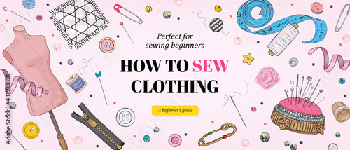 Fotografering Sewing course for beginners banner template