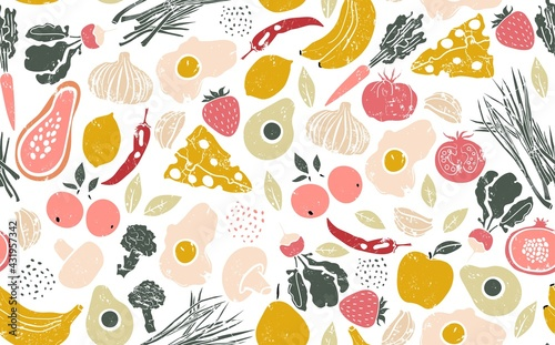 Seamless Pattern with Healthy Food. Vector illustration.