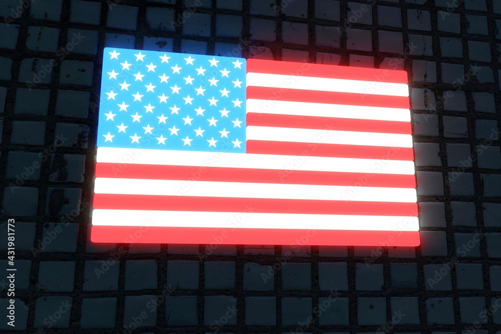 Illuminated American flag on black flag