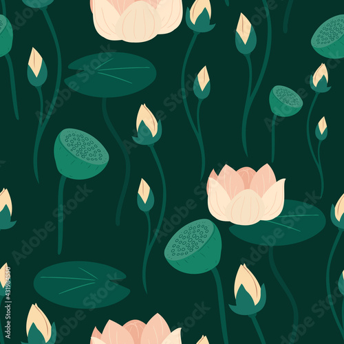 Seamless pattern with lotus and water lily blooming on a dark green background