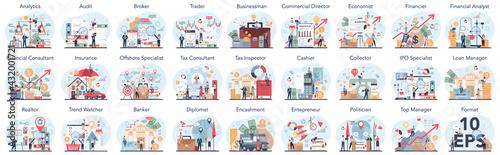 Obraz na płótnie Financial or business profession set