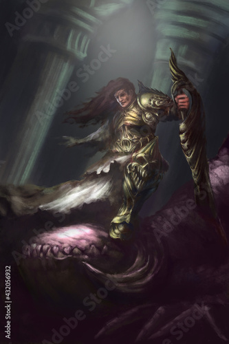 Canvas-taulu The warrior defeated the demon with a huge sword, he has no one hand