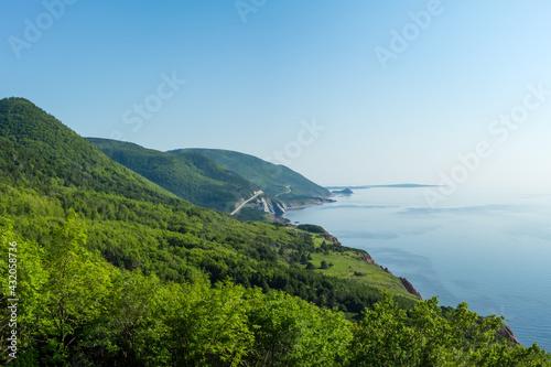 Beautiful summer morning views of Cape Breton Islands along the world famous and most scenic Cabot Trail route, Cape Breton, Nova Scotia Fototapet