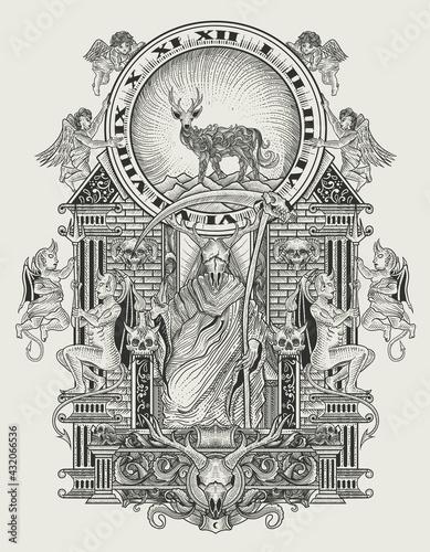Stampa su Tela illustration vector the king of satan monochrome
