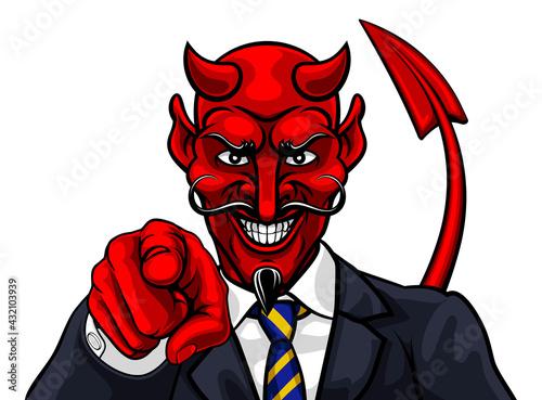 Canvas Print Devil Evil Businessman in Suit Pointing