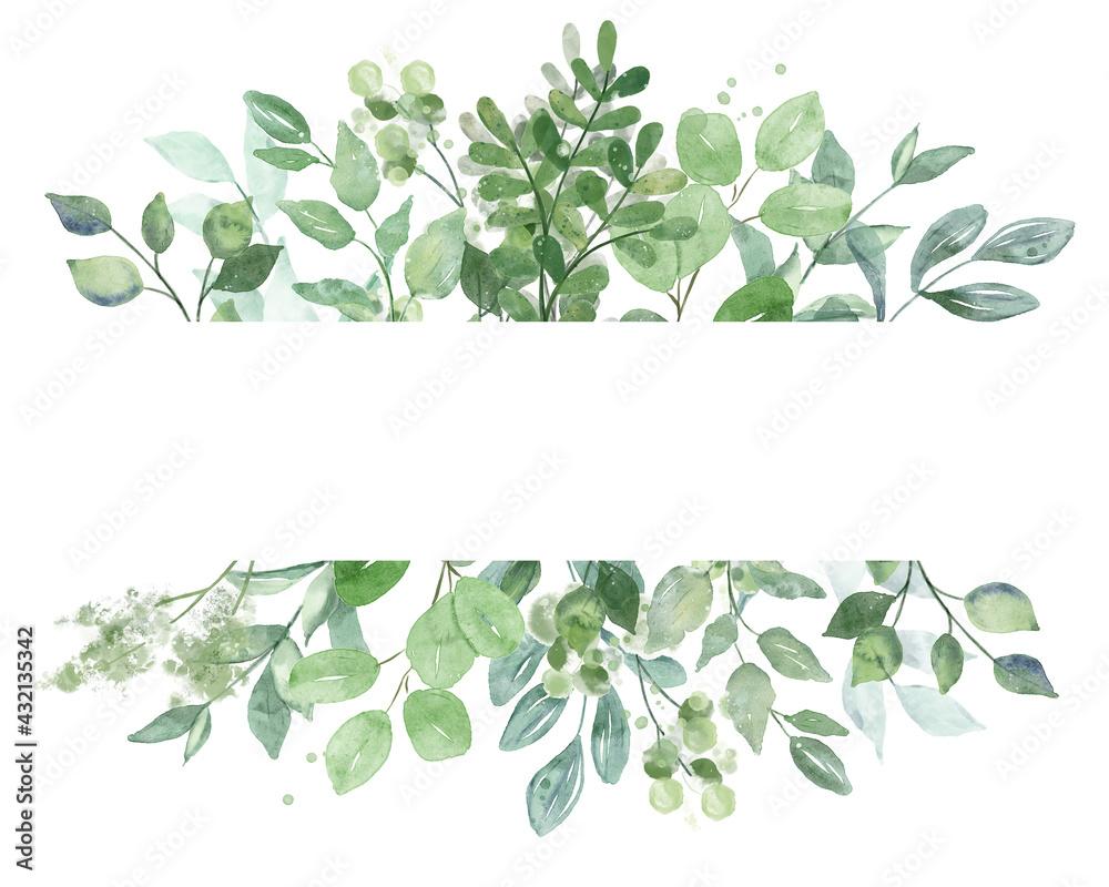 Leinwandbild Motiv - Larisa : Leaves frame border. Watercolor hand painting floral geometric background. Leaf, plant, branch isolated on white.