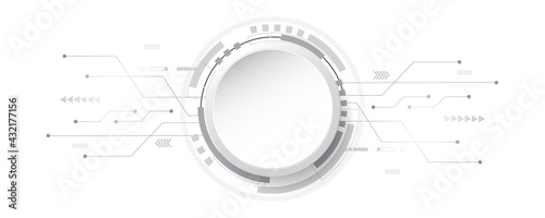 Abstract technology background circle geometry decoration, science and technology digital line white background