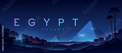 Fotografie, Obraz Futuristic landscape with views of the pyramids and the city