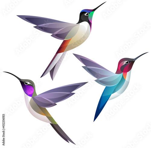 Carta da parati Stylized Hummingbirds in flight