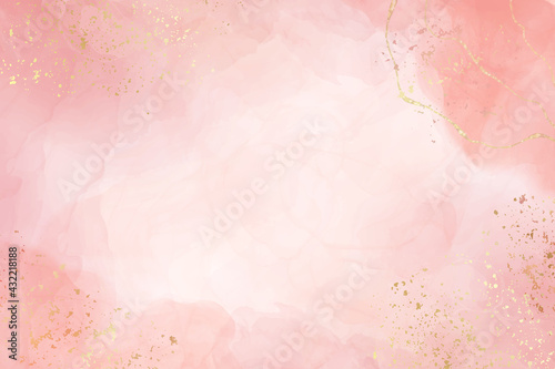 Abstract dusty blush liquid watercolor background with golden crackers Fototapet