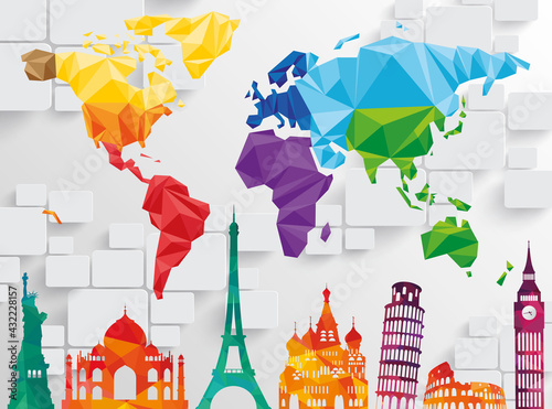 Fototapeta 3d picture color world map with landmarks