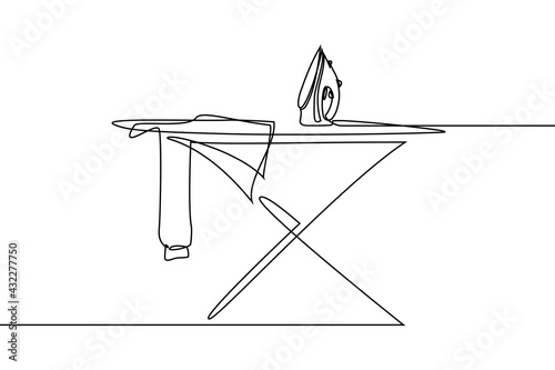 Obraz na plátně Clothes ironing in continuous line art drawing style